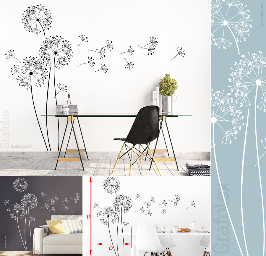 wandtattoo moderne pusteblume h 150cm l wenzahn. Black Bedroom Furniture Sets. Home Design Ideas