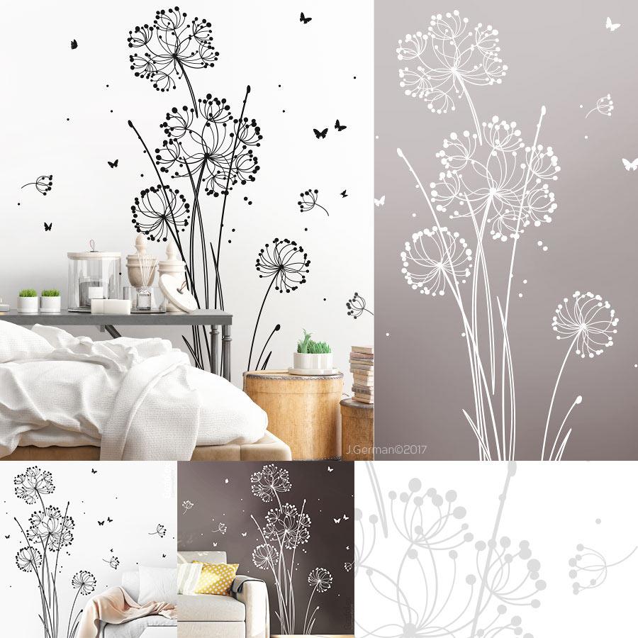 sch nes wandtattoo moderne blume pusteblume wandtattoo. Black Bedroom Furniture Sets. Home Design Ideas