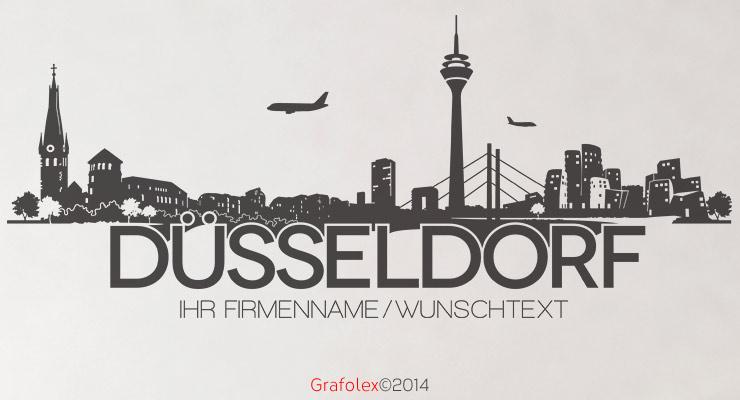 D sseldorf skyline wunschtext wandtattoo wandaufkleber wandsticker w112a ebay - Dusseldorf wandtattoo ...