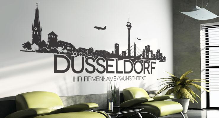 D sseldorf skyline wunschtext wandtattoo wandaufkleber wandsticker w112 ebay - Dusseldorf wandtattoo ...