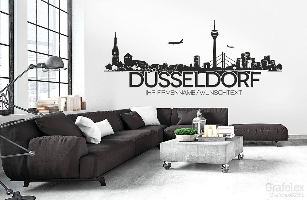 D sseldorf skyline und wunschtext wandtattoo wandaufkleber wandsticker w112a ebay - Dusseldorf wandtattoo ...