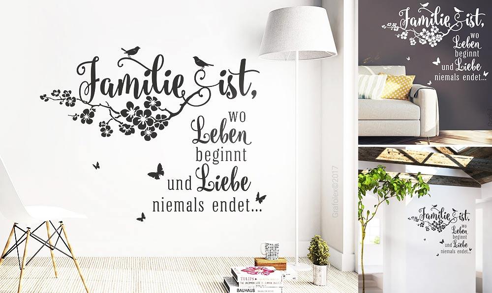 Liebe Zitate Zuhause Wandaufkleber Deko ws12c Wandtattoo Spruch Familie ist..