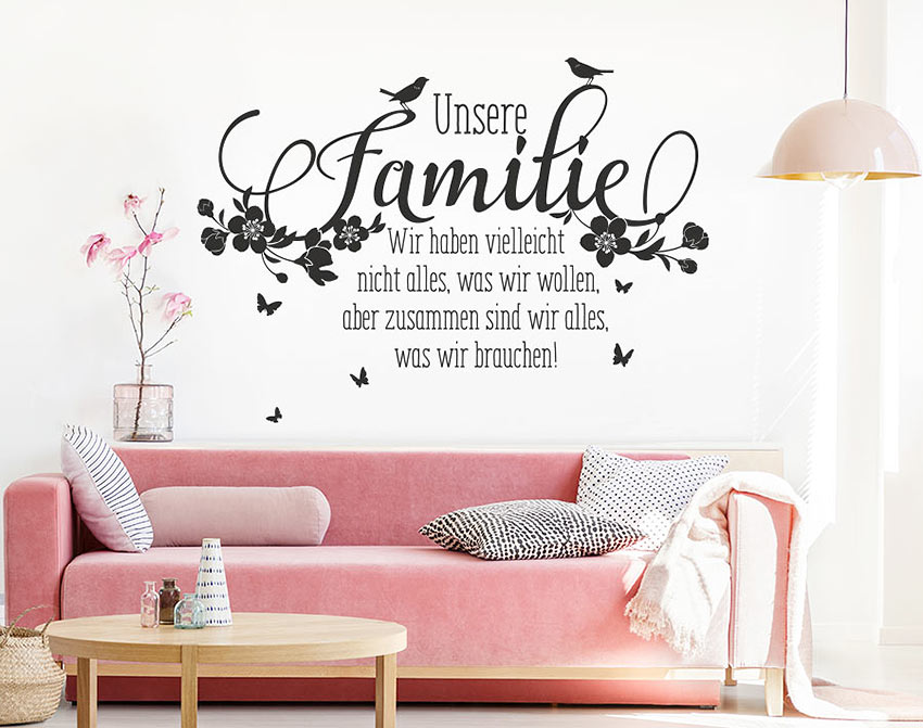 wandtattoo spruch familie zusammen zitate liebe zuhause. Black Bedroom Furniture Sets. Home Design Ideas