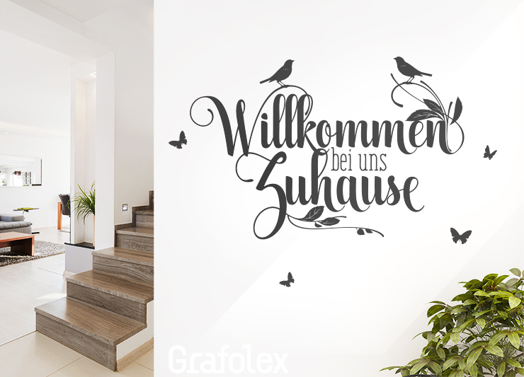 wandtattoo willkommen bei uns zuhause wandaufkleber spruch wand idee deko ws19b ebay. Black Bedroom Furniture Sets. Home Design Ideas