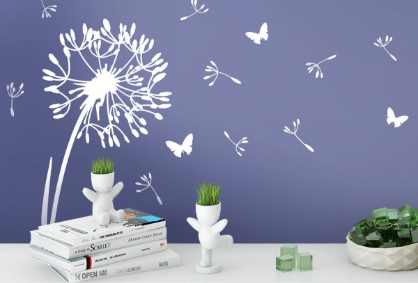 Wandtattoo  Pusteblume mit 10 Flugsamen und 3 Schmetterlinge