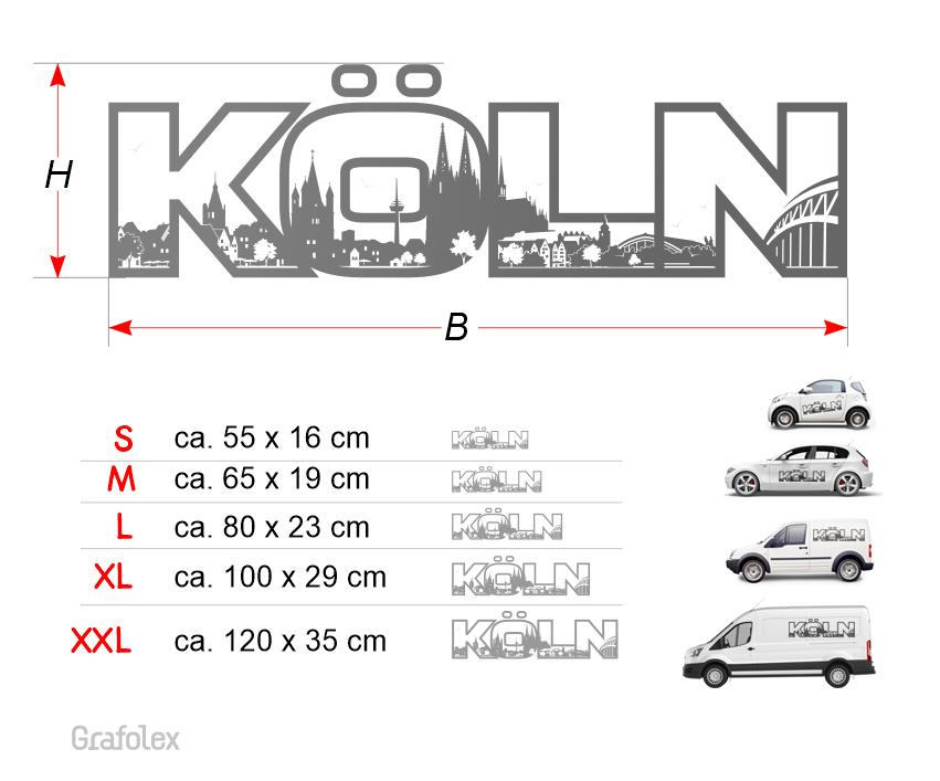 Autoaufkleber Köln Schriftzug Mit Skyline