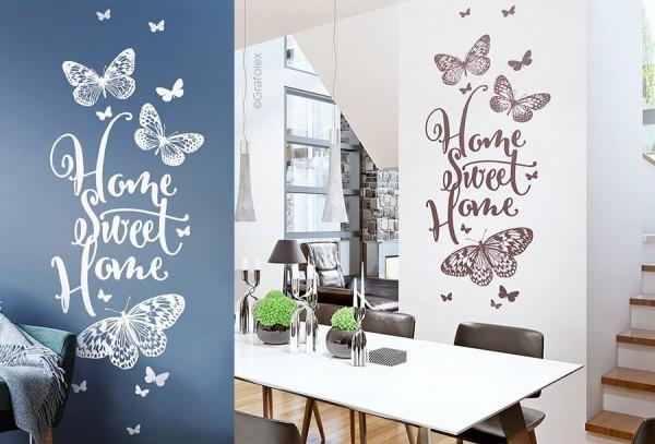 wandtattoo home sweet home mit schmetterlinge wandtattoo und autoaufkleber shop. Black Bedroom Furniture Sets. Home Design Ideas