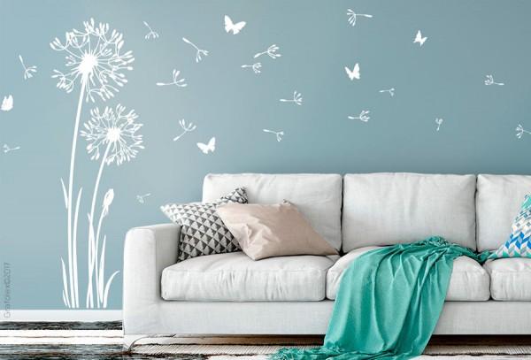 Wandtattoo Pusteblume mit 20 Flugsamen und 6 Schmetterlingen