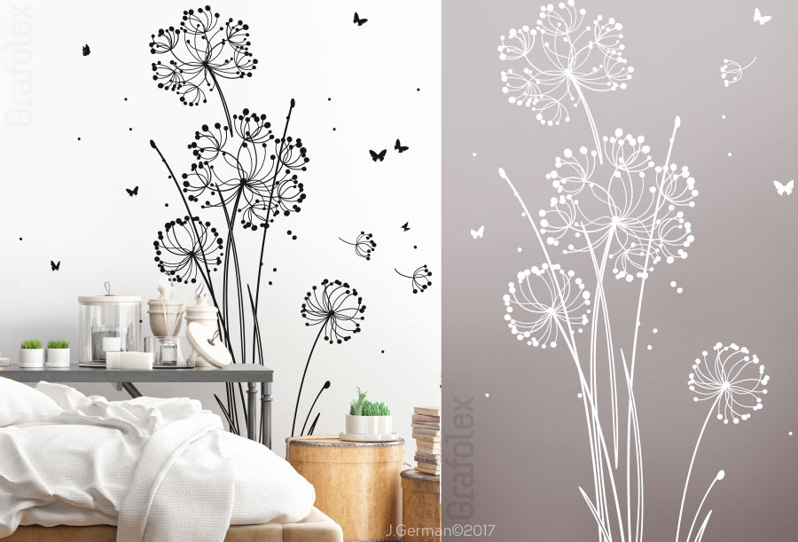 sch nes wandtattoo moderne blume pusteblume wandtattoo. Black Bedroom Furniture Sets. Home Design Ideas