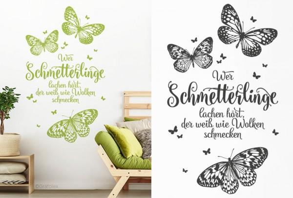 Wandtattoo Spruch Wer Schmetterlinge lachen hört ...
