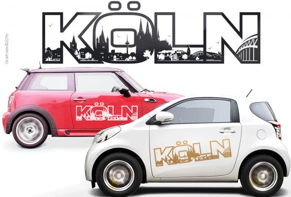 Autoaufkleber Köln. Schriftzug mit Skyline