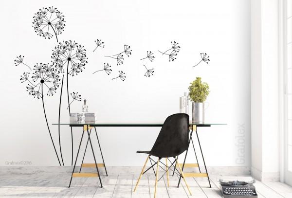 sch nes wandtattoo moderne pusteblume mit flugsamen wandtattoo und autoaufkleber shop. Black Bedroom Furniture Sets. Home Design Ideas