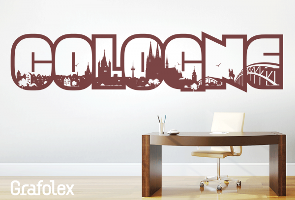 Wandtattoo Schriftzug Cologne mit Skyline