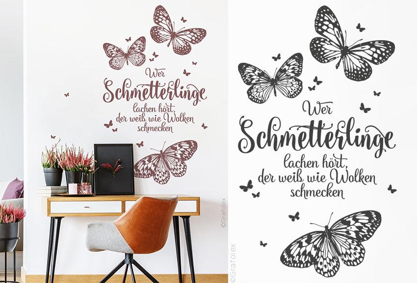 Wandtattoo Spruch Wer Schmetterlinge Lachen Hort Der Weiss Wie Wolken Schmecken Novalis Wandtattoo Und Autoaufkleber Shop