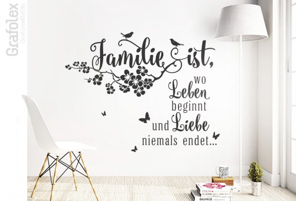 familie ist wo leben beginnt wandtattoo spruch. Black Bedroom Furniture Sets. Home Design Ideas