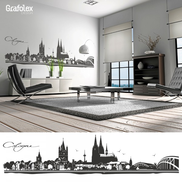 Wandtattoo Skyline Köln 210 x 47cm; schwarz