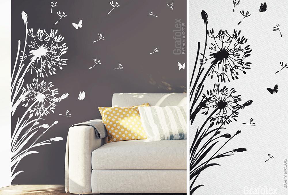 florales wandtattoo pusteblume f r ecke wandtattoo und. Black Bedroom Furniture Sets. Home Design Ideas