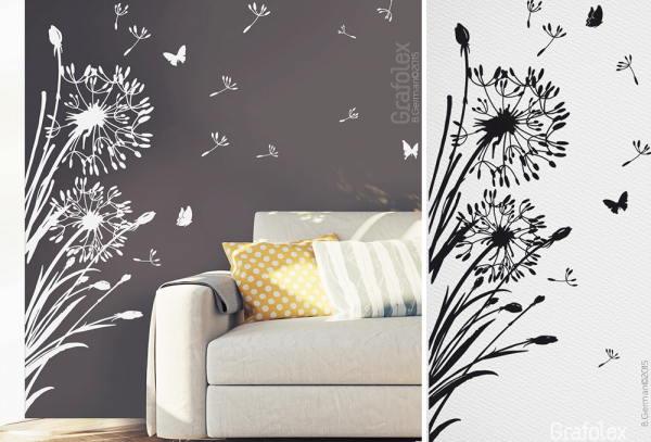 florales wandtattoo pusteblume f r ecke wandtattoo und autoaufkleber shop. Black Bedroom Furniture Sets. Home Design Ideas