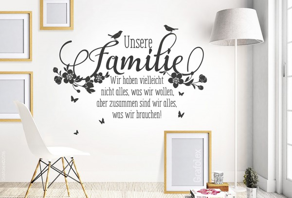 wandtattoo unsere familie spruch wandtattoo und autoaufkleber shop. Black Bedroom Furniture Sets. Home Design Ideas