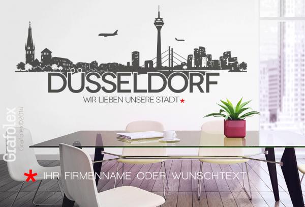 Wandtattoo Skyline Düsseldorf mit Ihrem Wunschtext