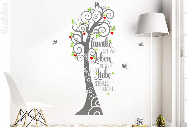 3-farbiges Wandtattoo Märchenbaum